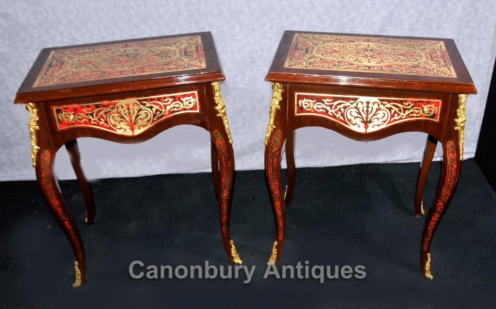 Pair Boulle Side Tables Louis XV French Furniture Inlay