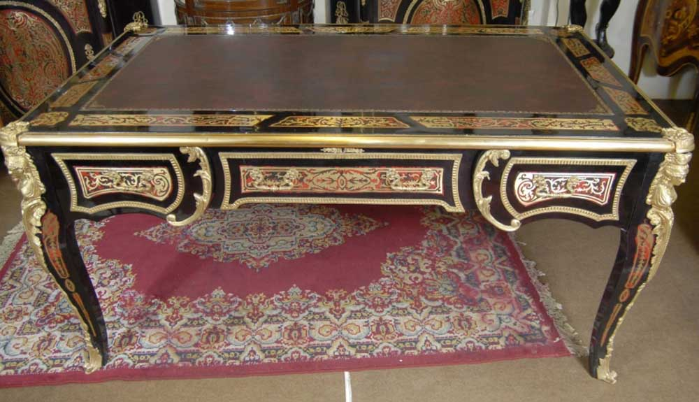 Large French Boulle Inlay Partners Desk Writing Table Desks