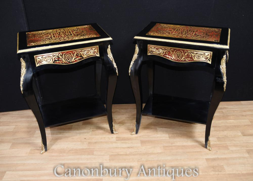 Pair Boulle Side Cocktail Tables Buhul French Louis XV Furniture