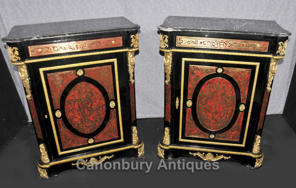 Pair Boulle Louis XVI Cabinets Chests Buhl Inlay Furniture